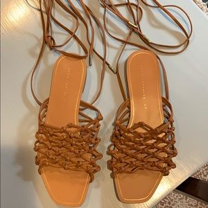 Zara brown lace up sandals